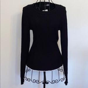 H&M Divided stretch rib sweater black w/white trim